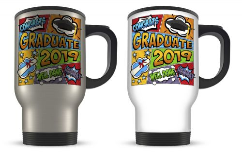 14oz Congrats Graduate 2019 Comic Novelty  Aluminium Travel Mug